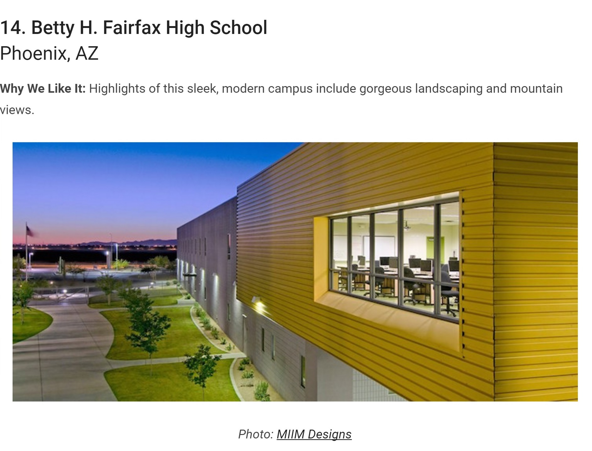 MIIM Designs Betty Fairfax High School