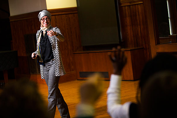 Stephanie Mitchell/Harvard Staff Photographer  Islamic studies scholar Celene Ibrahim says in places like America, much of what Muslim women do is a matter of choice. Ibrahim was the guest speaker at the Faculty of Arts and Sciences Diversity Dialogues series.