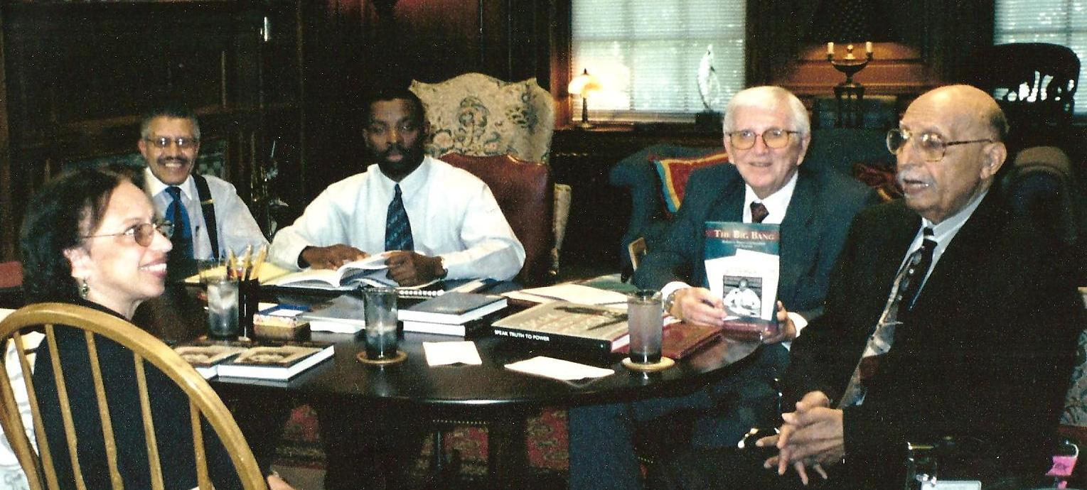 First organizational meeting of the Oliver White Hill Foundation. The founders are (L-R) Norine Gunter Dunnaville, Clarence Dunnaville, unidentified gentleman, Cabell Brand and Oliver W. Hill.