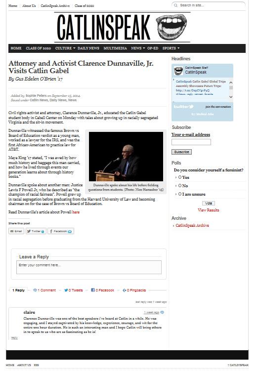 Dunnaville spoke in Portland, Oregon at Catlin Gabel High School about civil rights in September 2014.