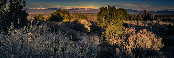Last light of day on the Rio Grande gorge looking towards Mt. Baldy