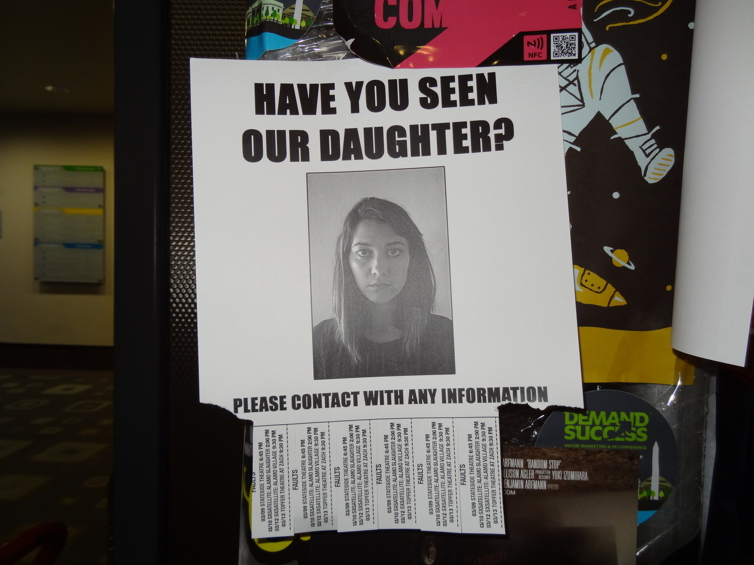 """Promotional flyer for """"Faults"""" at SXSW ."""