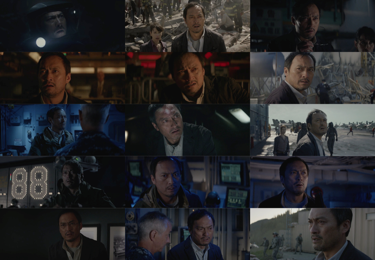 Ken Watanabe reacts with two worry lines and parted lips.