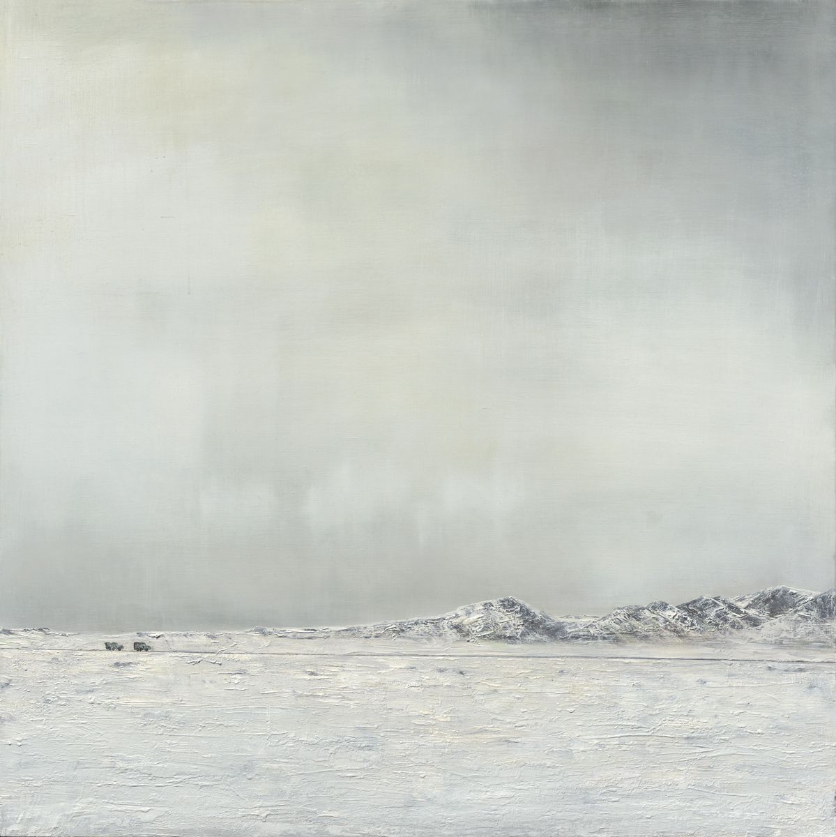 There's Oil Under the Arctic, 2017. 36X36 inches. Oil, Graphite on Wood. Giclee Prints Available.