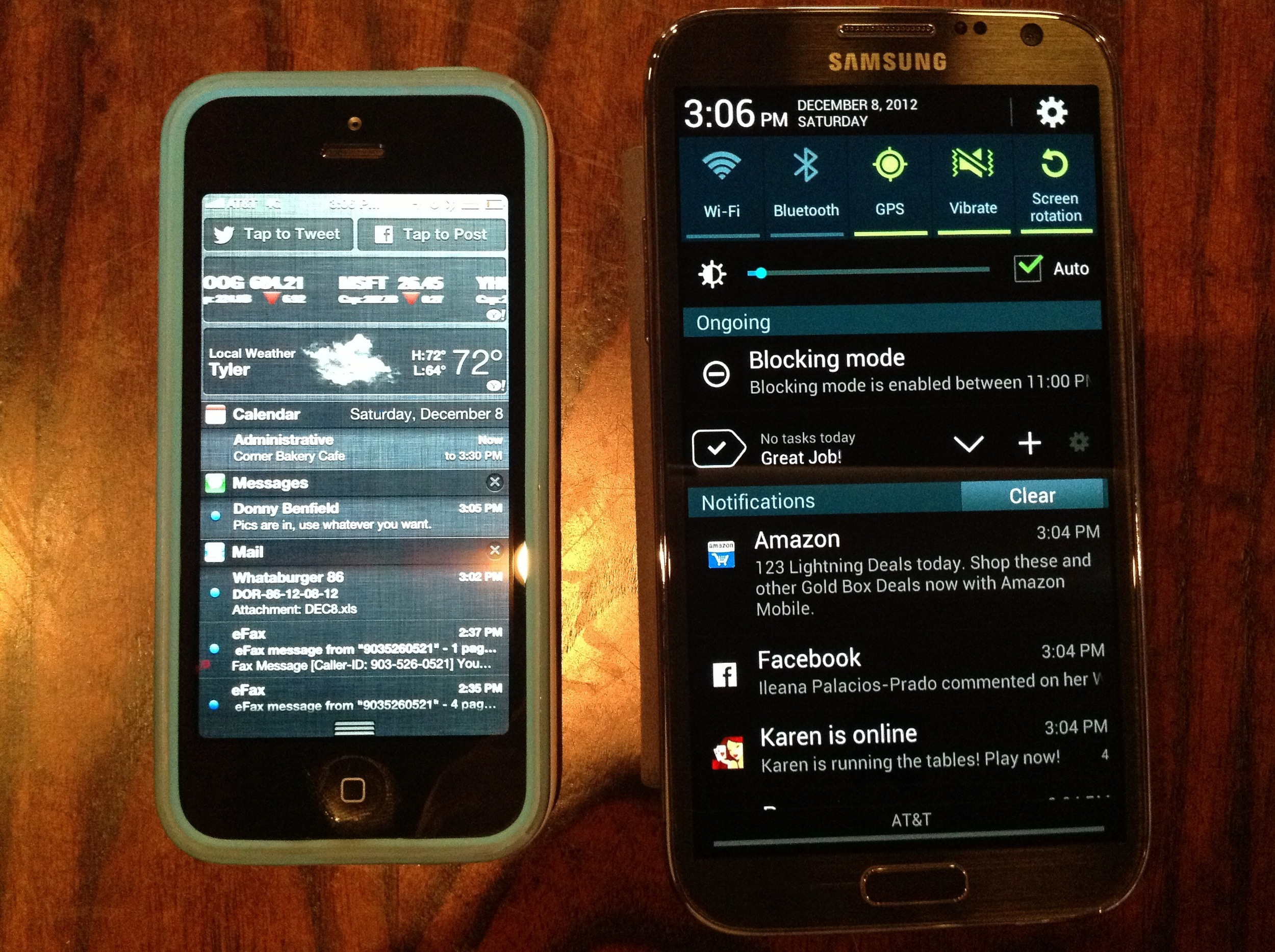 This is the 4th part in a series of posts reviewing the  Galaxy Note 2  from the view of a longtime  iPhone  user. In this brief blog piece, I break down the way the two phones handle notifications.  