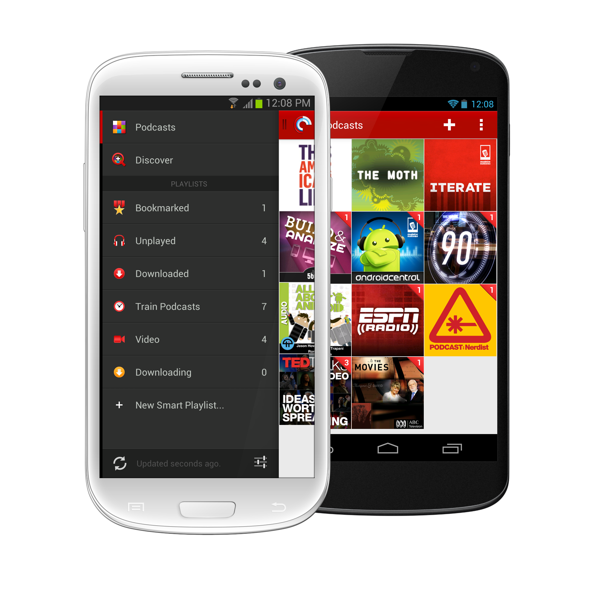 Pocket Casts 4 Podcast Library & Menu Panel