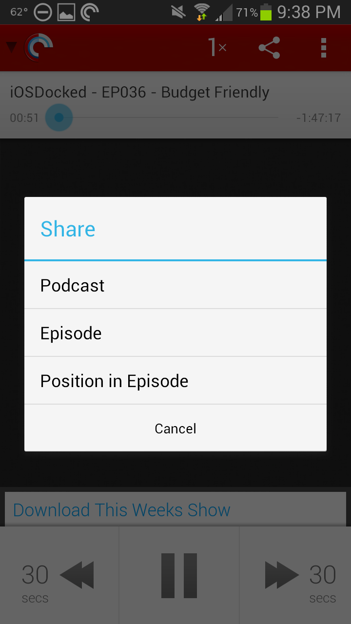 Pocket Casts 4 Share Options