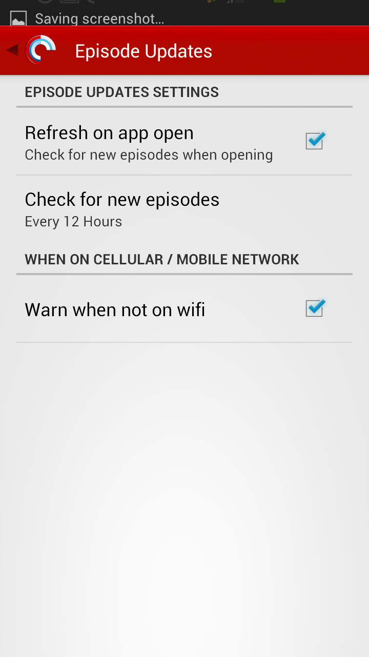 Pocket Casts 4 Episode Update Settings