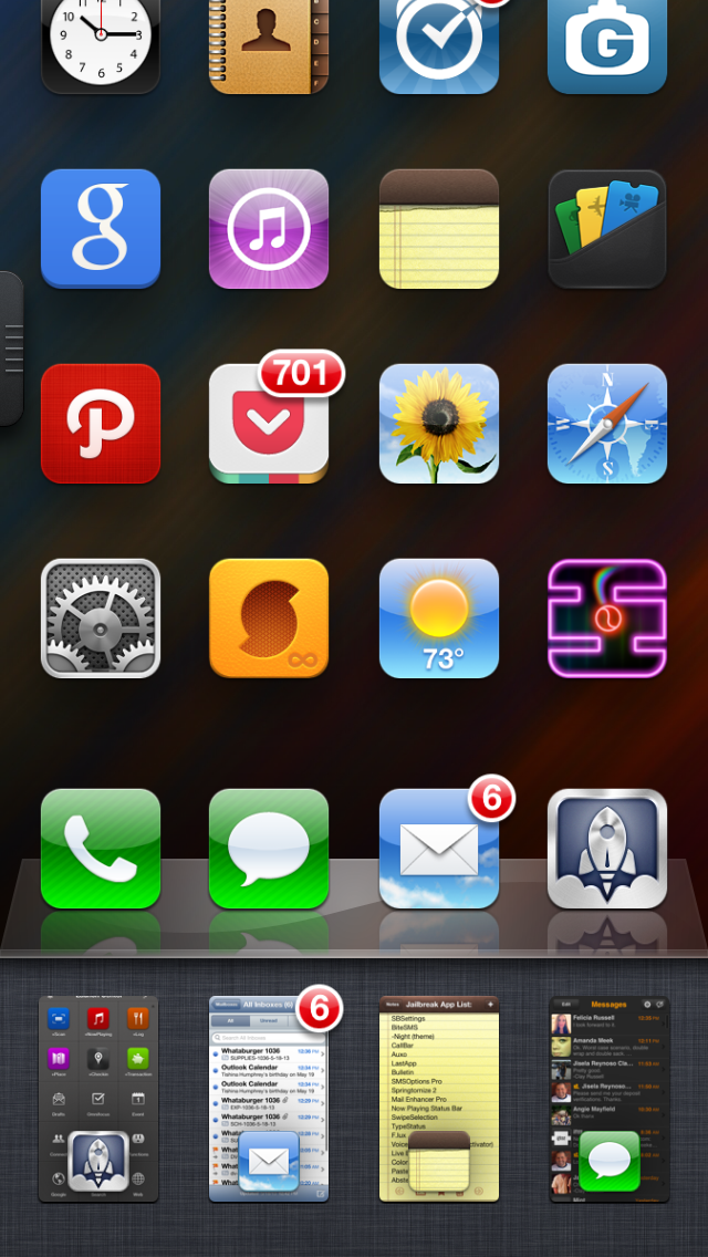 Auxo:  This is a more attractive task switcher with a card view, toggle support and settings panel shortcuts.