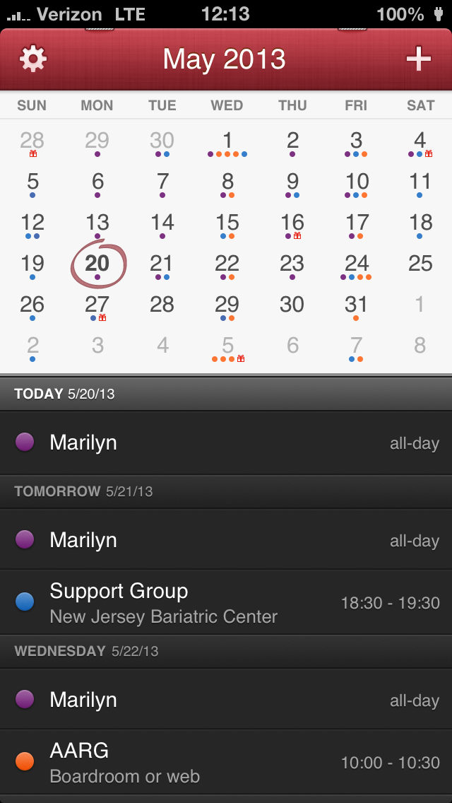 """Fantastical is split into 3 sections. The first section includes settings, invitations, month, and a """"+"""" to create a new event. The second section is the calendar with 2 viewing options available. The last section is a scrolling list of your events. This is an endless scrolling list and works in both directions."""
