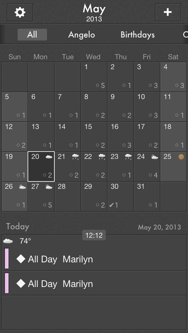 """The Grid Calendar is broken into 4 sections. The first section consists of Settings, Month, and a """"+"""" to create a new event. The next area allows you to filter your calendars. The 3rd section is the calendar with 2 viewing options available. The last section is a list of your events. The Grid only allows scrolling through the selected day."""