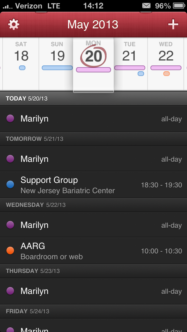 The viewing options for Fantastical are Month View and Day Ticker View. A full swipe down on the calendar will change your view. Swiping left and right will change the month or scroll the days depending on what view you are in. A partial swipe will bring up a search field. The Day Ticker view shows you 5 scrollable days across the top and upcoming events on the bottom. You are able to scroll up and down on the events to a future date.Tapping on the month at the top will bring you back to the current day. Tapping and holding on the month will allow you to choose a date to jump to.