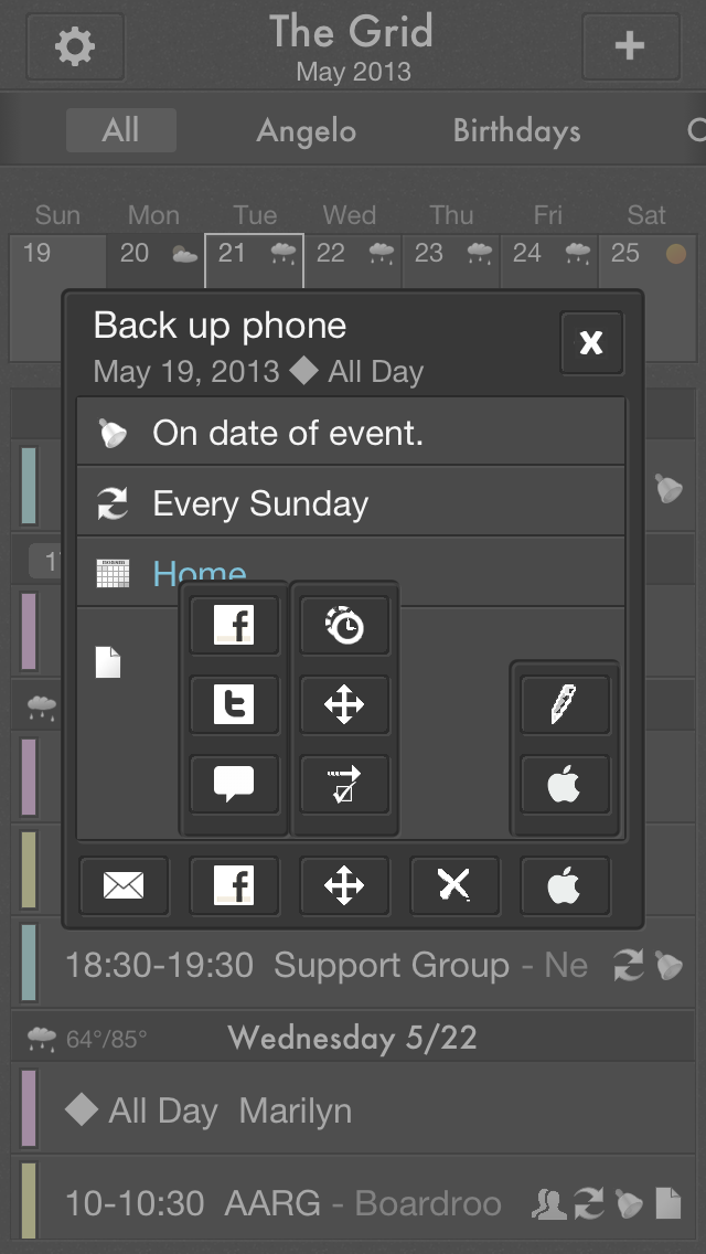 The Grid gives you the ability to share your event via email, Facebook, Twitter or via SMS, copy, move to reminders, delete and edit.