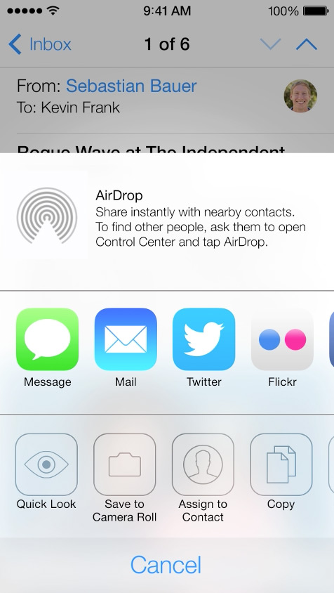 Air Drop  - Now you can share items with your friends nearby.