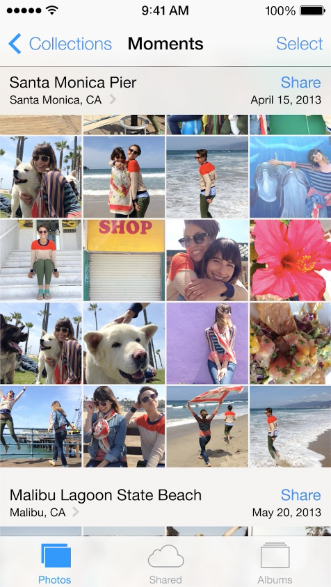 Photos  - Now organized by date and location. Sorted into Moments & Collections