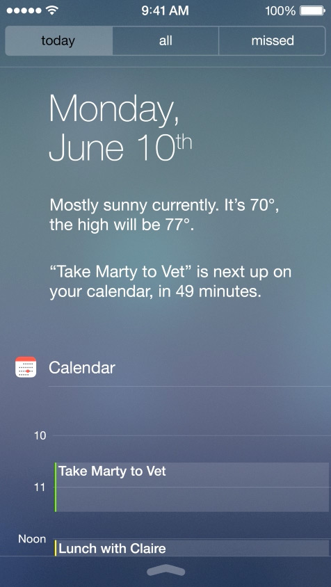 Today View  - In Notification Center you are able to preview your scheduled events for the day.