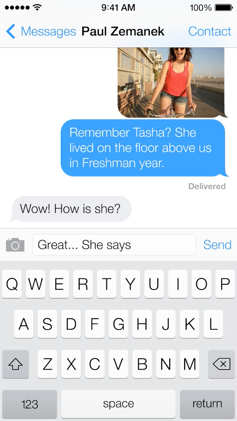 Messages  -Chat bubbles are a new shade of blue (iMessage) and green (SMS).