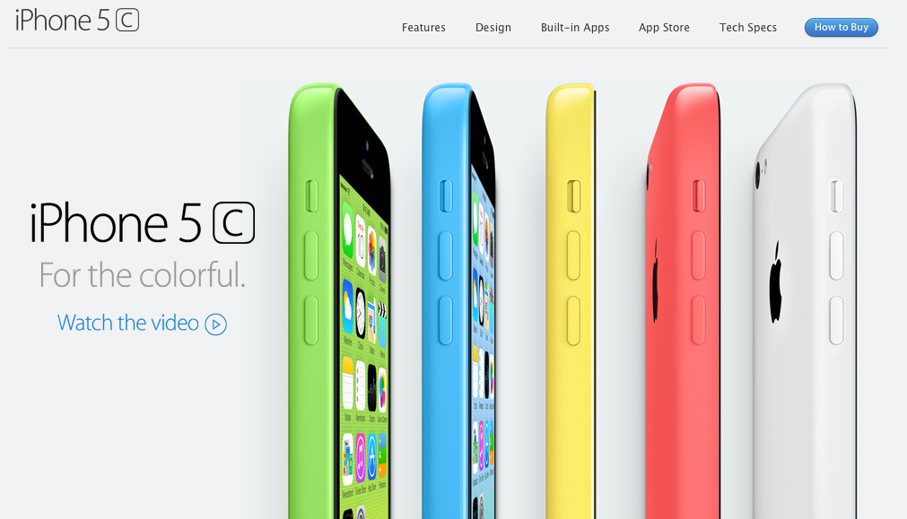 iPhone 5c Colors: Green, Blue, Yellow, Red, White