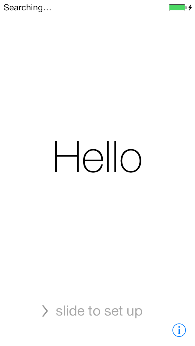 The first screen you will see.  Hello will cycle through multiple languages.  As you can see, the typeface has been redesigned to be much cleaner