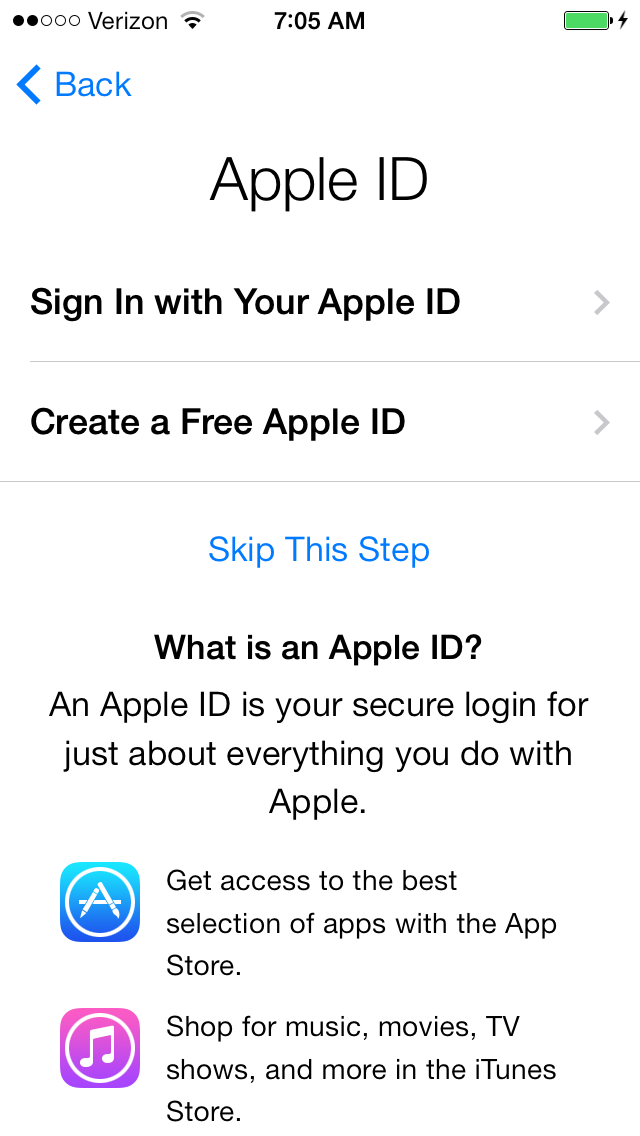 Sign in or create a new Apple ID