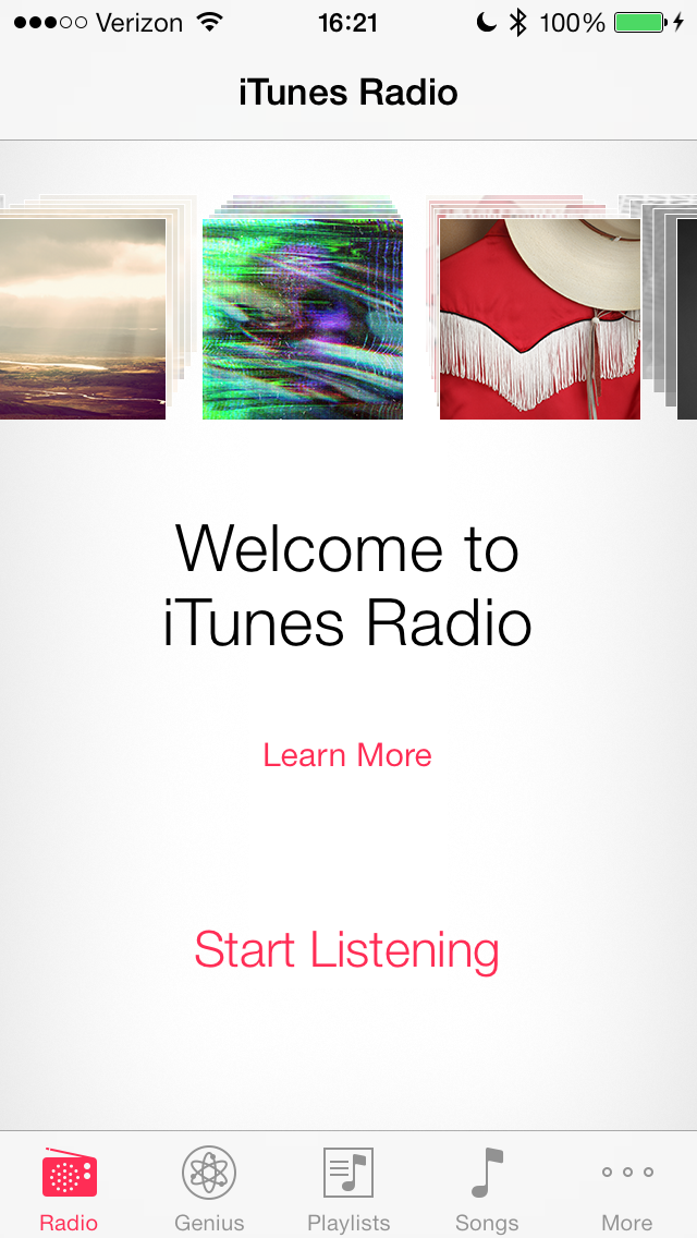 Music App - iTunes Radio is available within here.