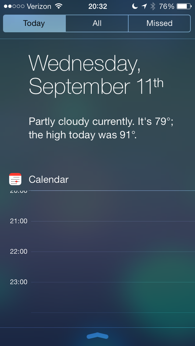 Notification Center has dropped its linen and gone transparent. There are 3 tabs and it is available from anywhere, lock screen included. Today will show you the weather, calendar stocks and over time, the amount of time it will take you to drive somewhere.