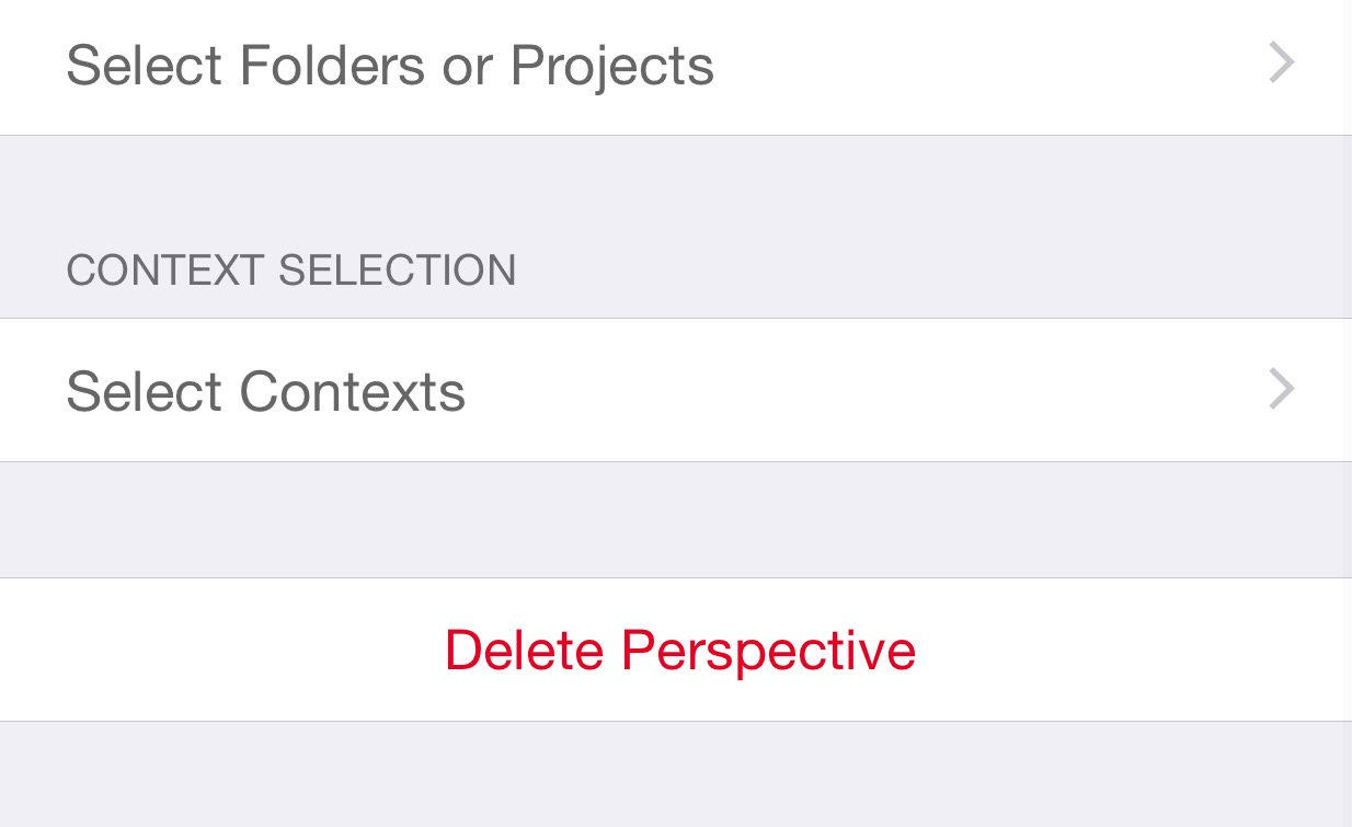 """On the selection of Folders, Projects and Contexts, I selected """"None""""."""