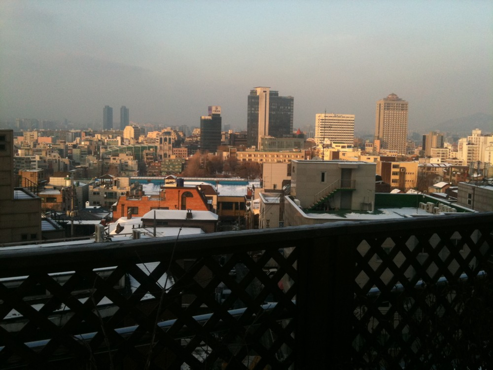 Taking a break in the 7 hour writing class, the view across downtown Seoul is quite bueariful