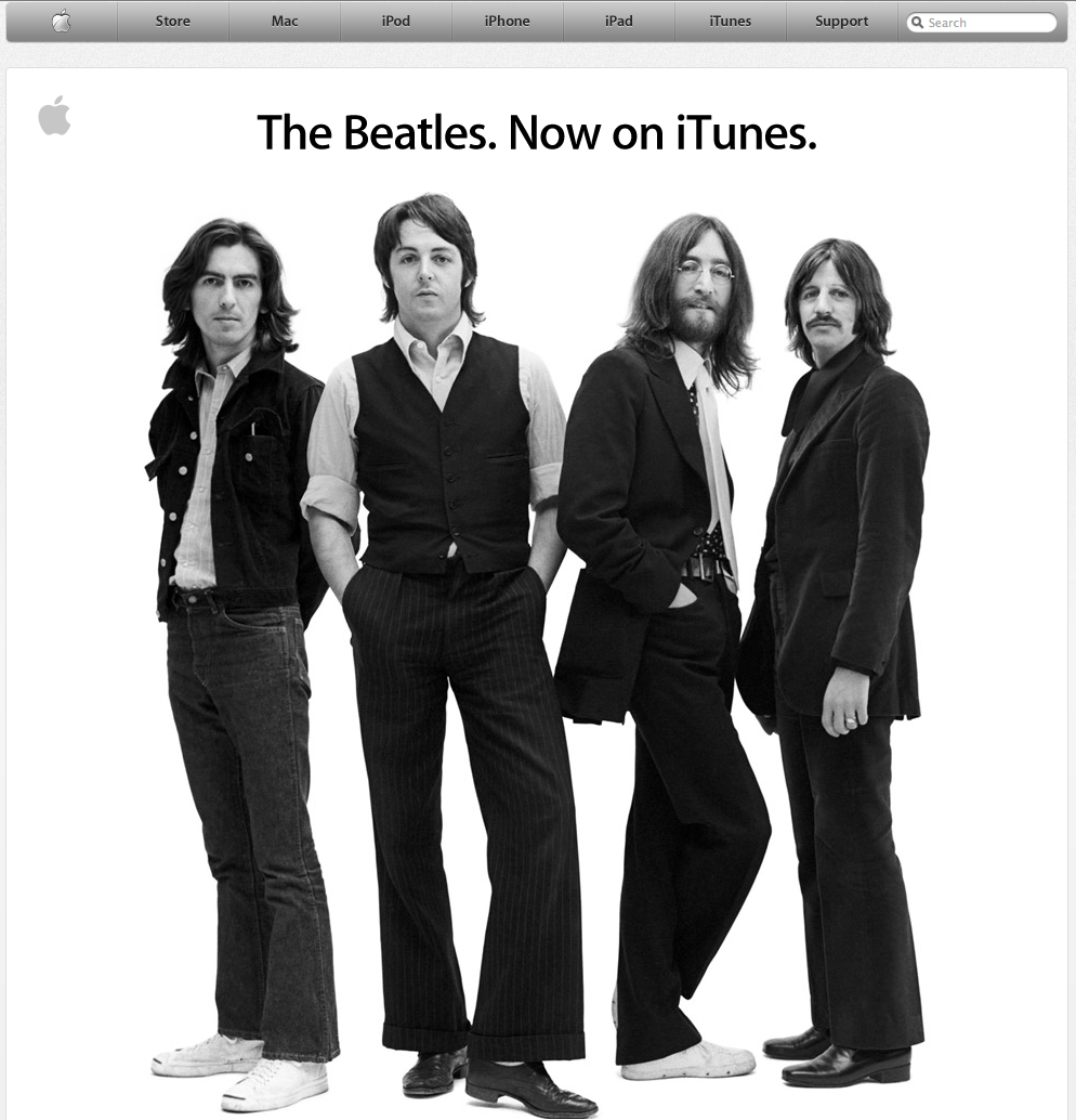 Awesome use of their home page.    Most company's home pages are littered with products, adverts and basic c**p. Apple, announce a deal, that to most people who don't know the history, is nothing special. But to those of us who know, it is an amazing deal.    Congratulations to Apple and to the owners of the Beatles' rights.