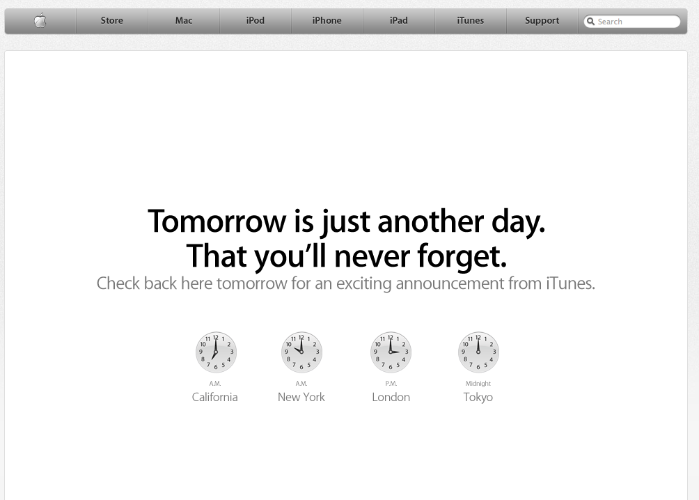 Awesome use of their website home page. Rumour has it that Apple are about to announce that The Beatles will finally be available to buy on iTunes…   For those of us in Seoul – we'll find out at 12pm
