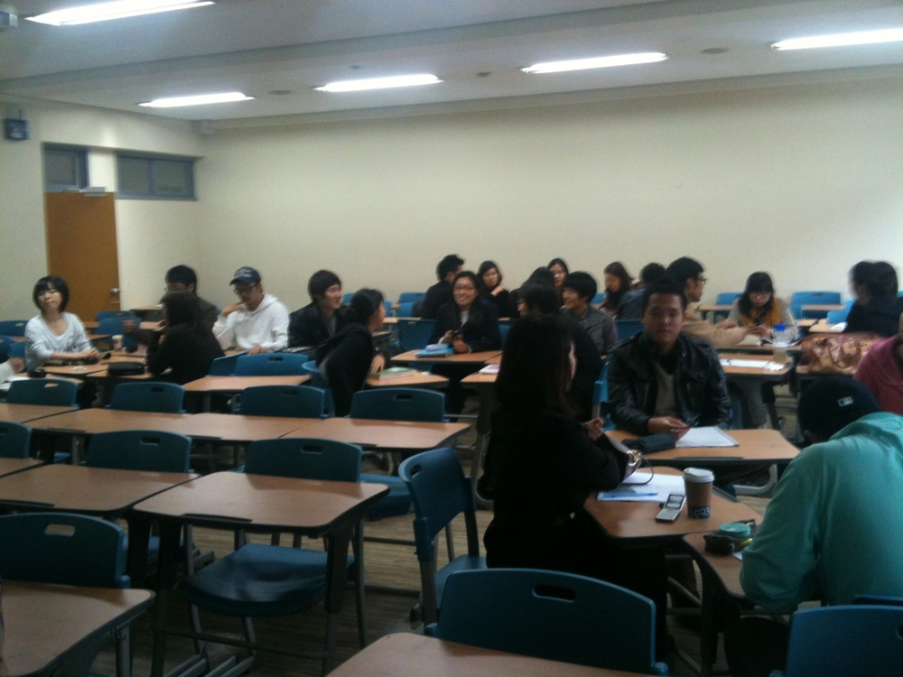 Did my Present in English course at Kukmin University this afternoon. The students were great - 40 of them.