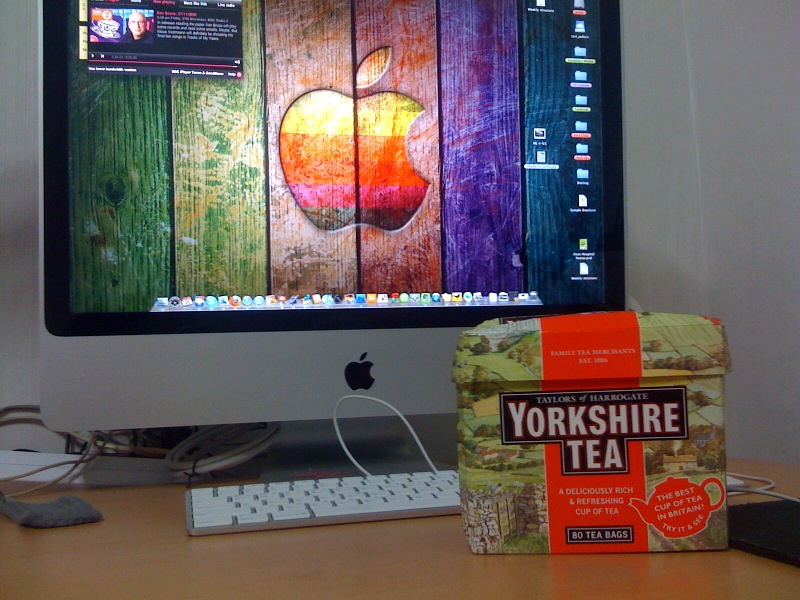 """A box of Yorkshire Tea and an iMac 24""""   Sent from my iPhone"""