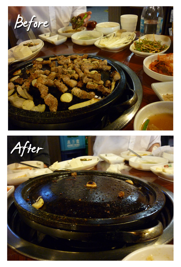 Here's the before and after shot of our Samgyup Sal dinner last night. Hmmmm so delicious^^
