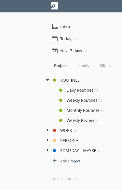 A screenshot of how I organise my routines in  Todoist