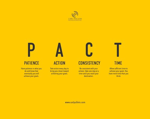 P A C T — Patience, Action, Consistency and Time  — Carl Pullein
