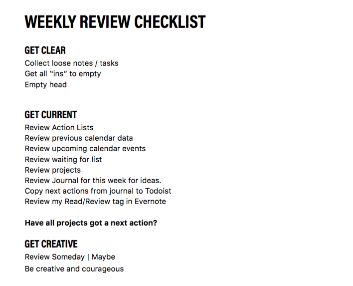 My weekly review checklist - You can download a copy of my weekly review checklist here.
