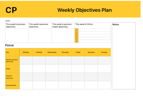[NEW] The Weekly Objectives Plan - Use this guide as a way to focus you in on what is important to you each week. A Great way to keep you on track to achieving your goals.