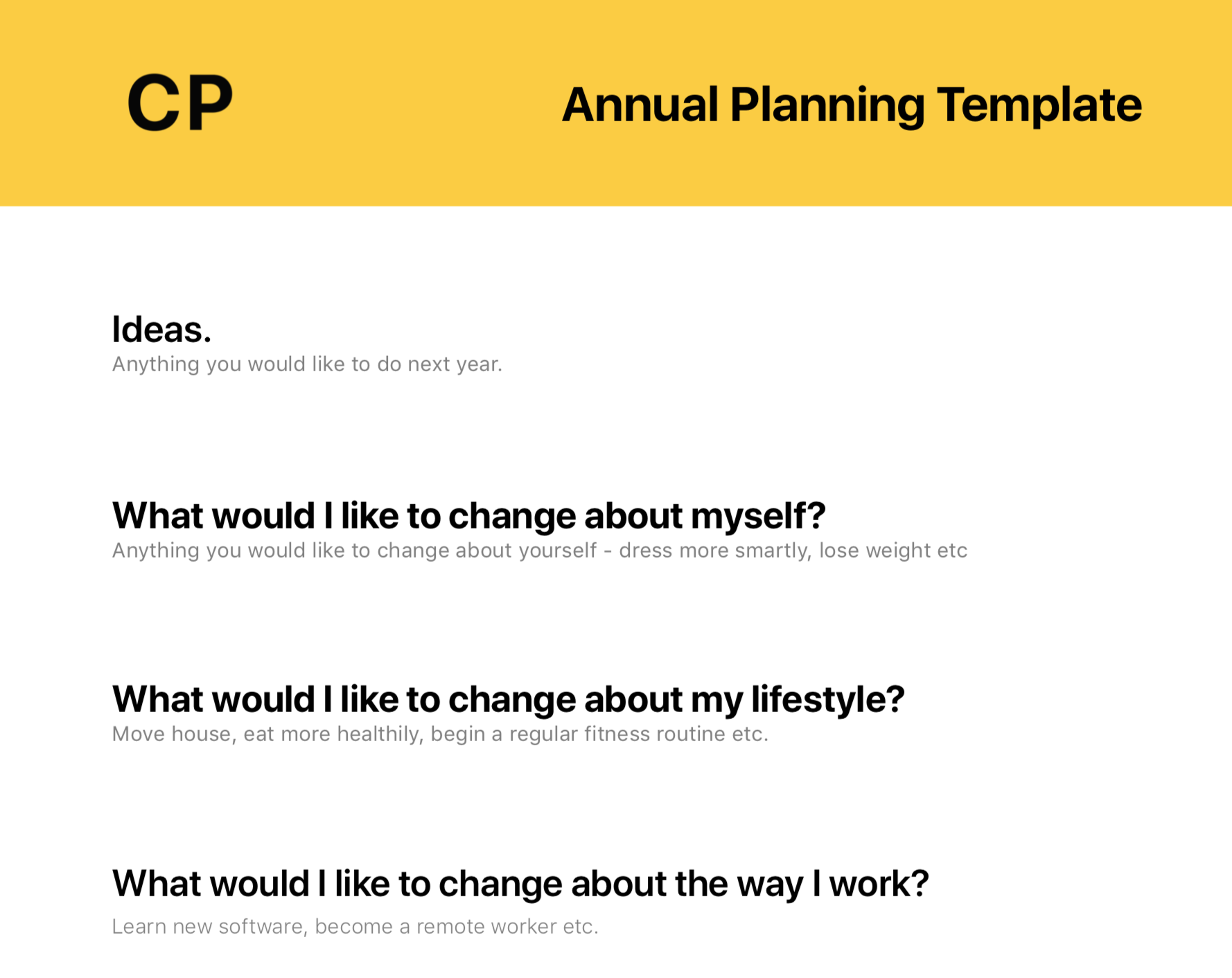 The Annual Planning Template - You can start this at any time to get your life back under control.