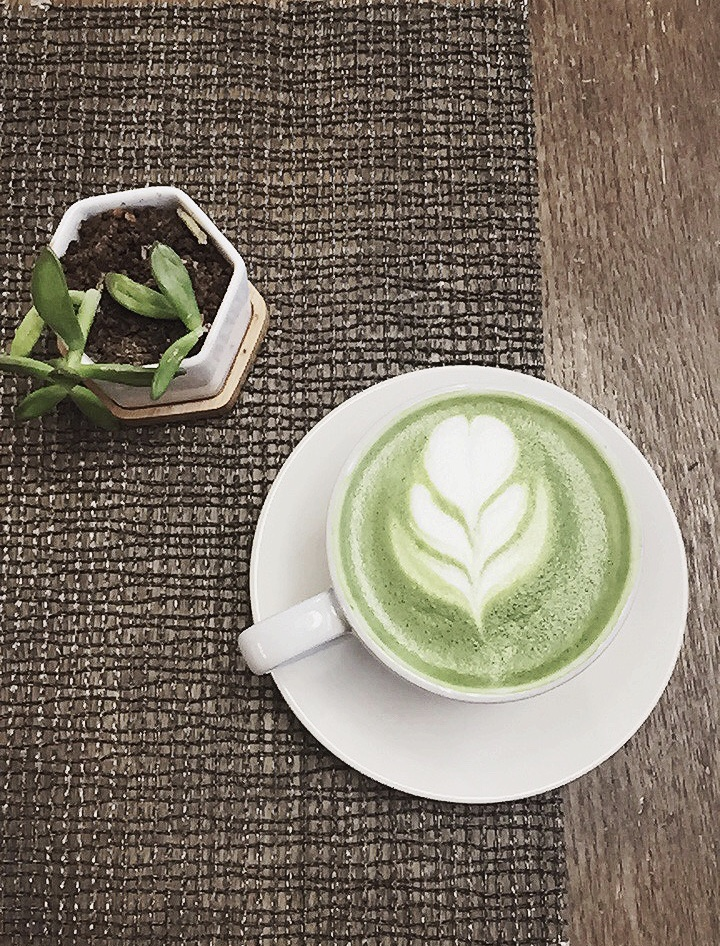 Matcha Latte (sans sugar) provided by  Akasha