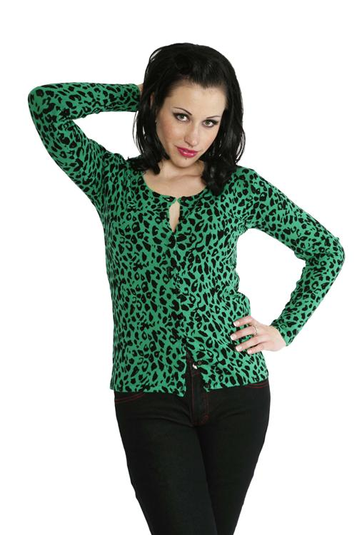 Rockabilly Bargain- Green Leopard Print Cardigan from Heaton's
