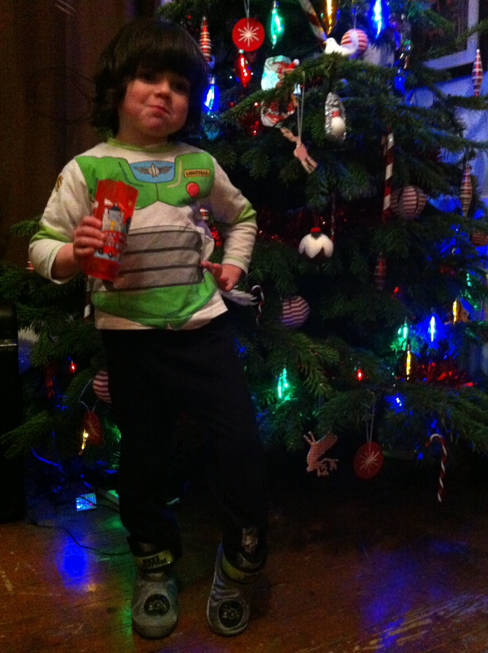 A Giant Toy Story Christmas Tree & Buzz Slipper Boots for Boys
