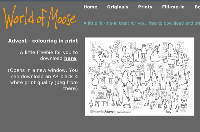 Free Colour-In Advent Calendar by Moose Allain