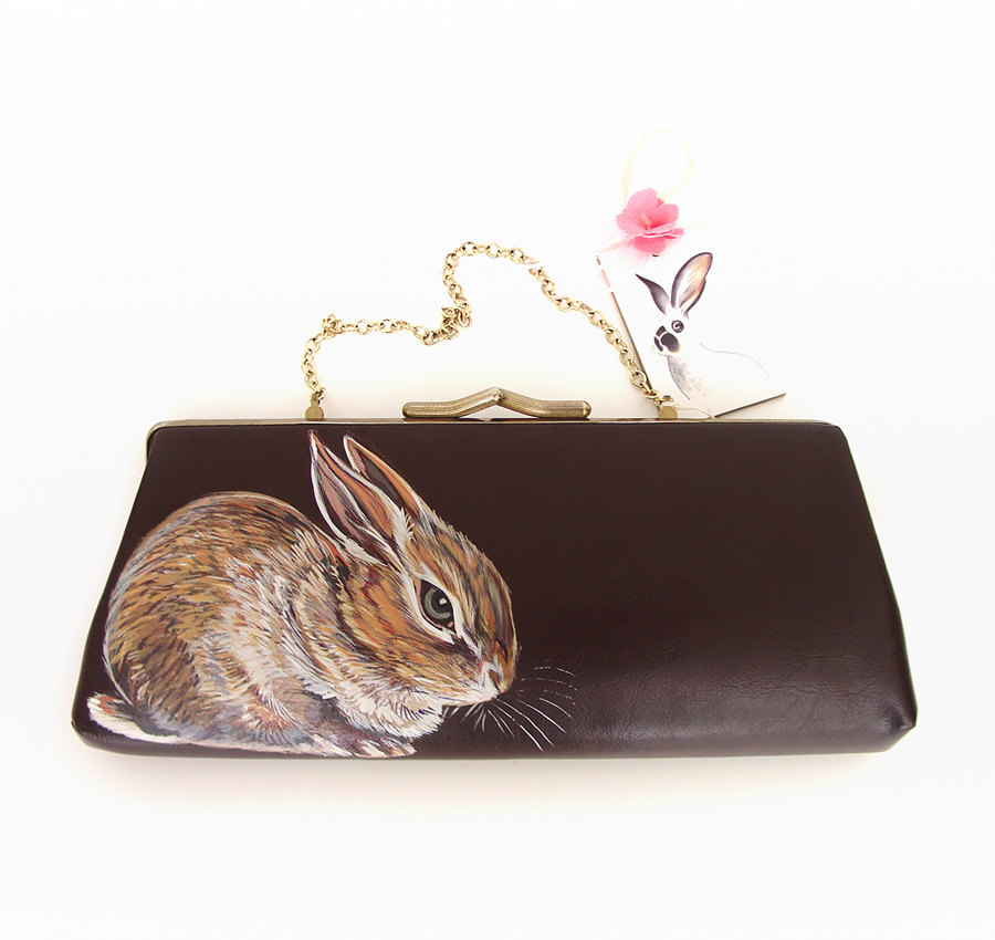 Stunning Handpainted Bunny Rabbit Handbags