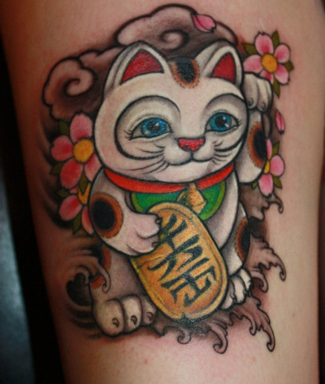 Lucky Cat Tattoo by Chris Crooks