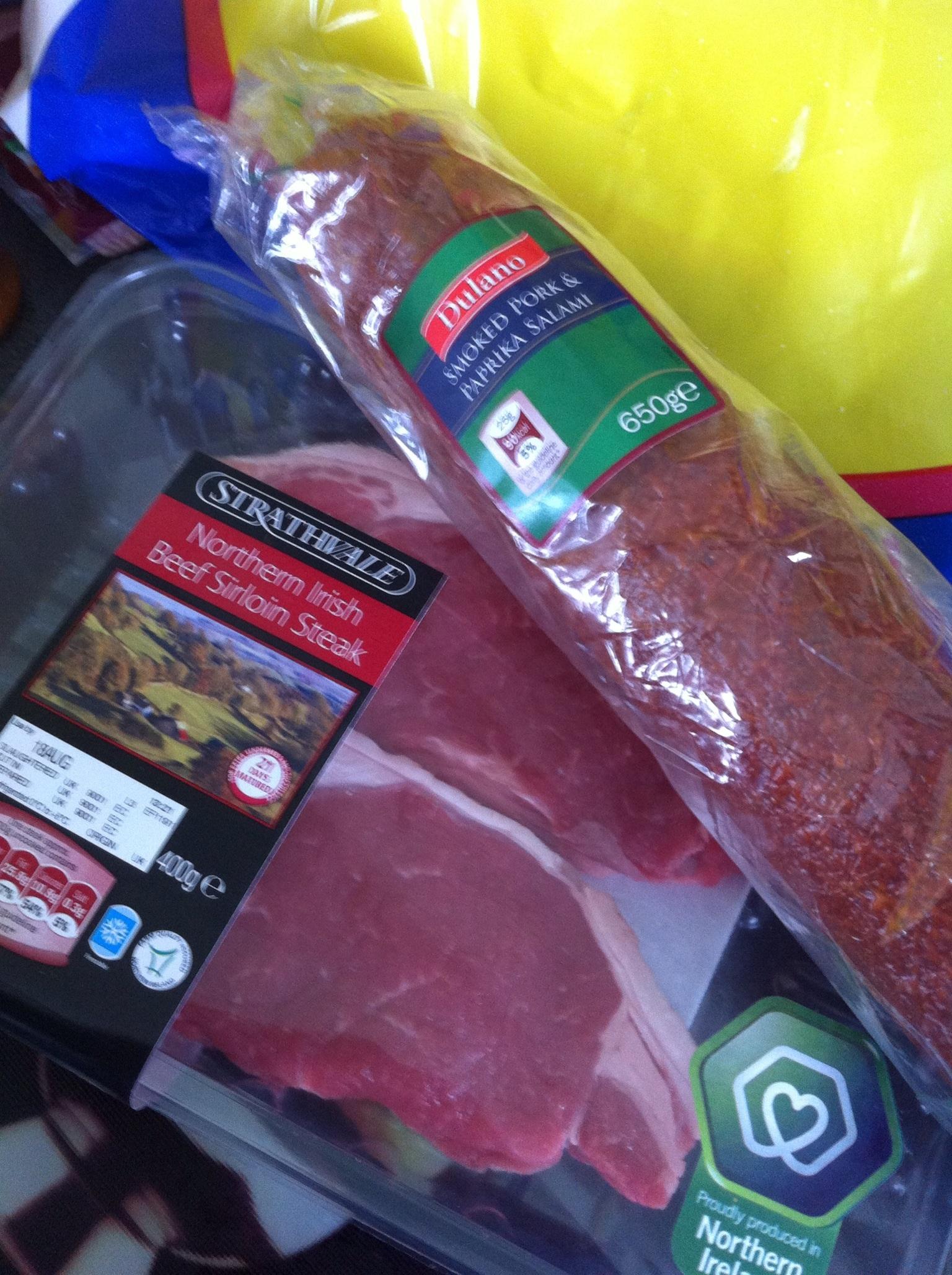 sirloin steaks £6.59.   Salami £4.49
