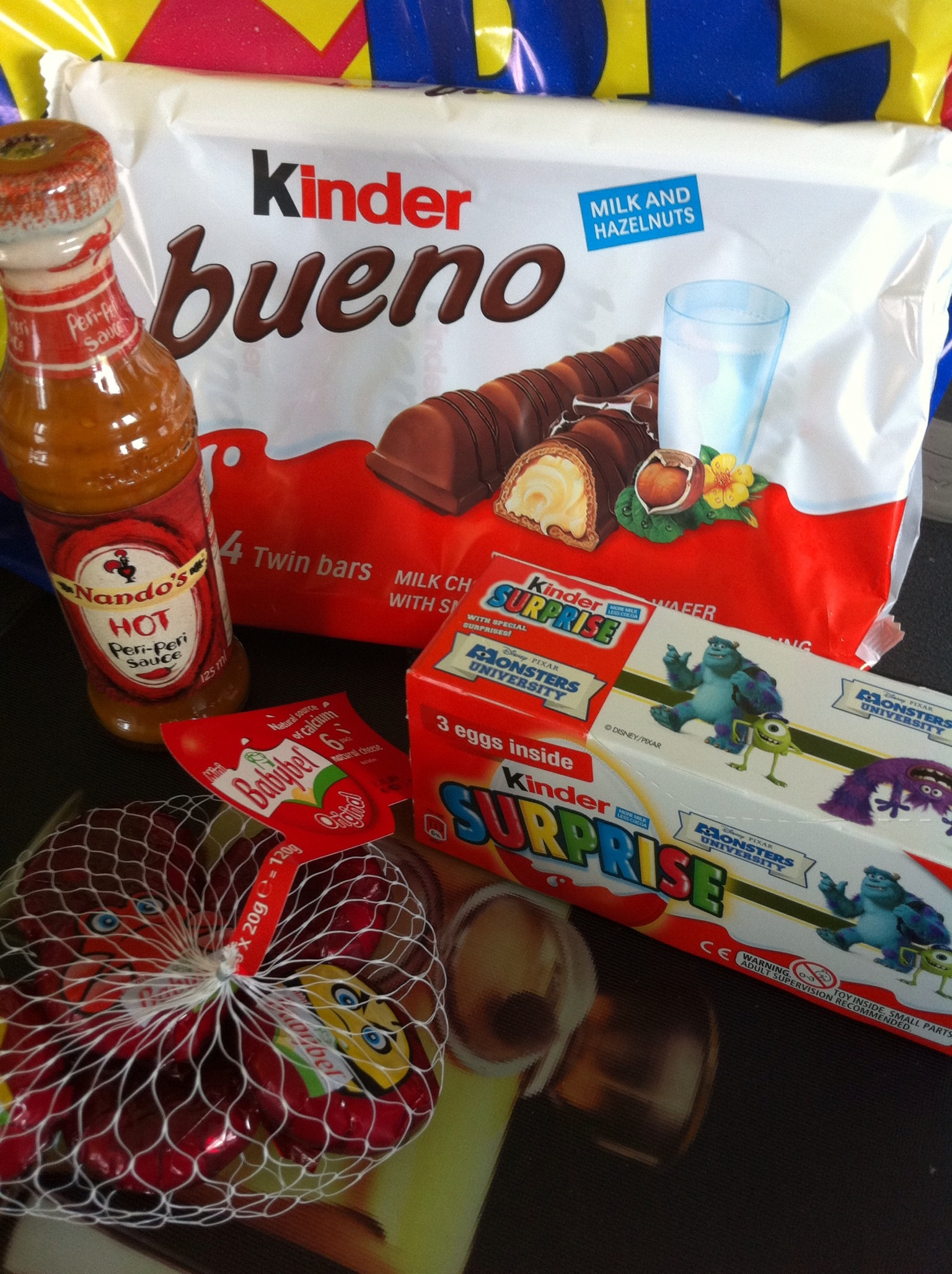 Kinder bars £1.68. Kinder eggs £1.71. Babybel cheese £1.74