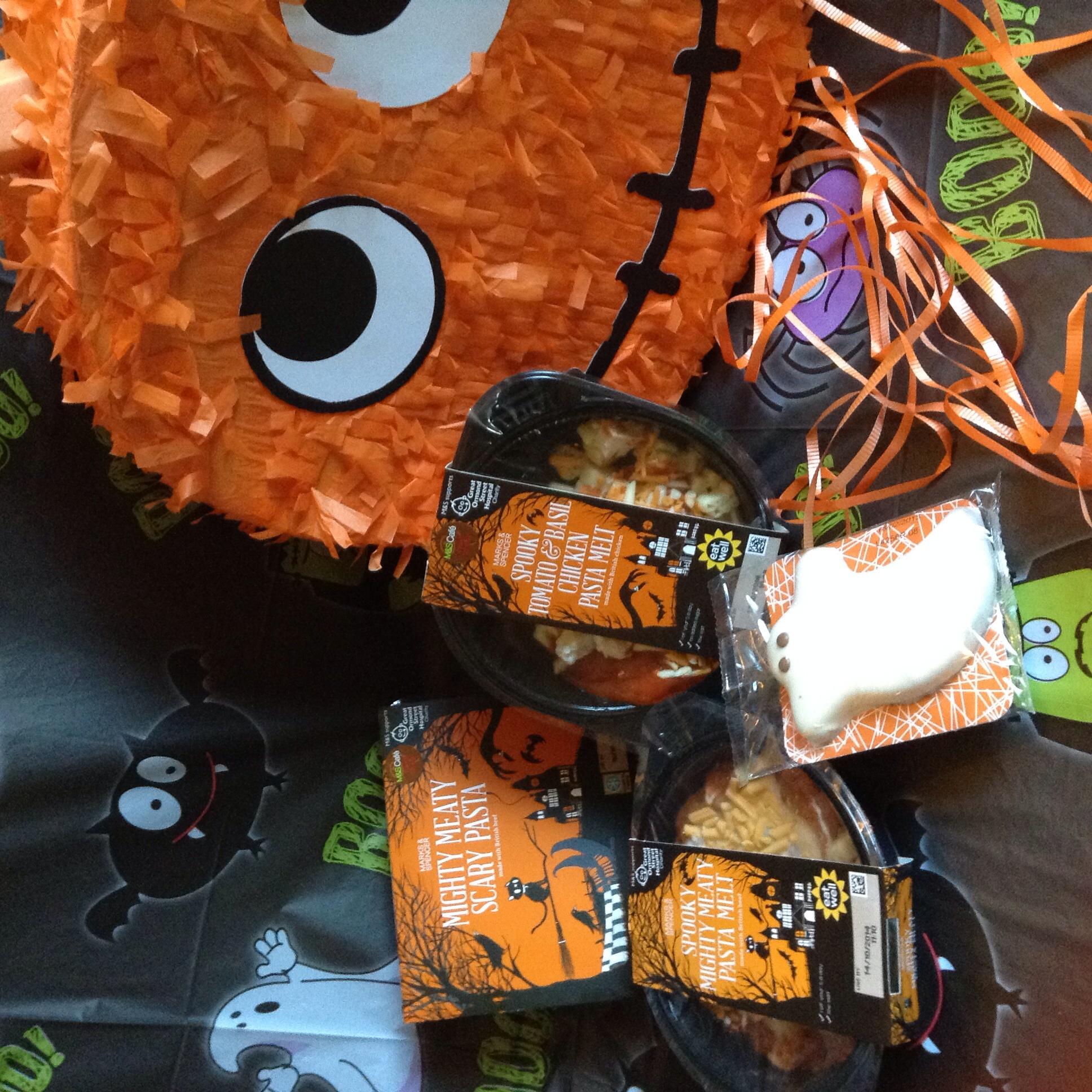 Scary pasta meals for kids £2.50 and £2.75 - Ghost cookie £1.50