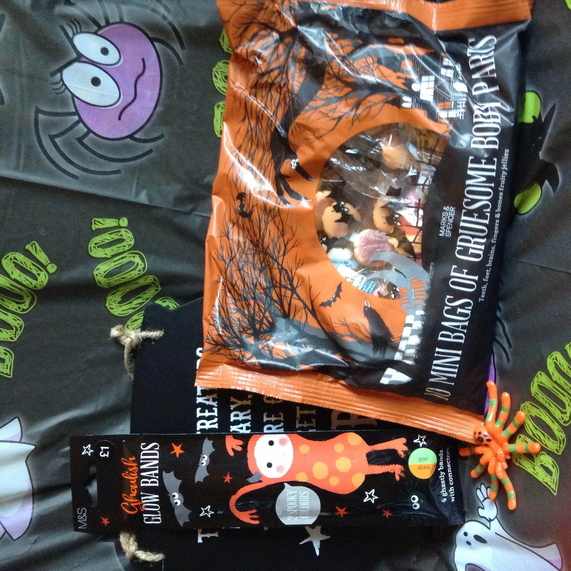 for when the trick or treaters come calling, 10 mini bags £3.00 - going trick of treating yourself? Glowstick pack of two £1