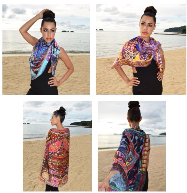 Nitsha models the scarves in the online store and shows you the versatility of ways to wear them