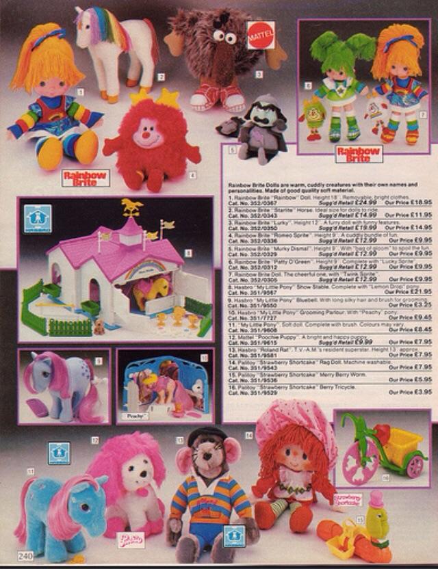 Rainbow Brite, My Little Pony, Roland Rat, Poochie, Strawberry Shortcake